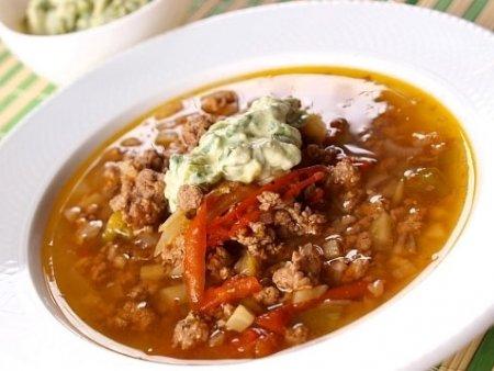 Мексиканский суп с фаршем в мультиварке