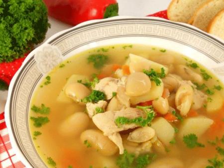 Вкусный суп с фасолью и мясом готов