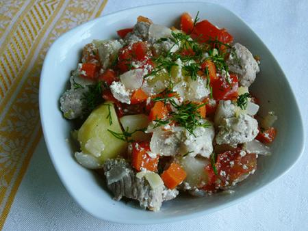 готовая картошка с мясом