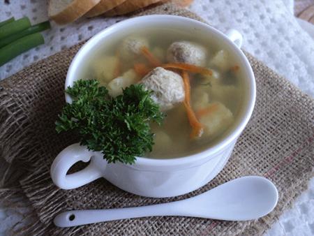 Суп с клёцками и фрикадельками