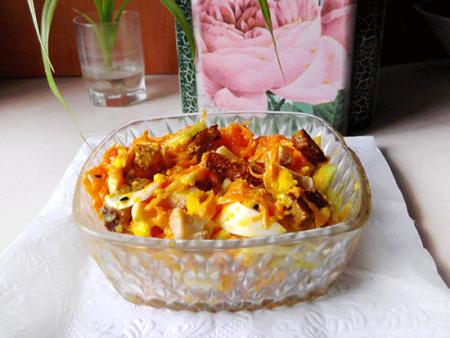 Салат с морковью по корейски и курицей