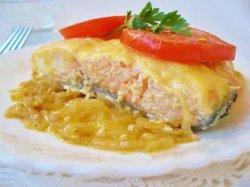 Запеченная семга с творожным сыром