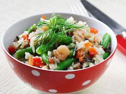 Салат теплый со стручковой фасолью